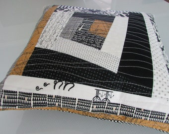 Decorative Pillow | Throw Pillow | Modern Quilted Pillow | Black, Off White, Umber Pillow COVER