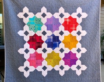 Modern Quilt   Patchwork Quilt   Multi-Colors Quilt   Handmade Quilt   Throw Quilt