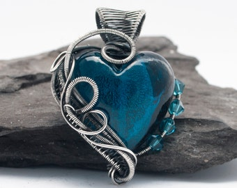 Teal Blue Necklace, Heart necklace, Wire Wrapped, Heart Amulet Pendant, Gift For Her, Gift For Women, Blue Jewelry, Bridesmaid Gift, Silver
