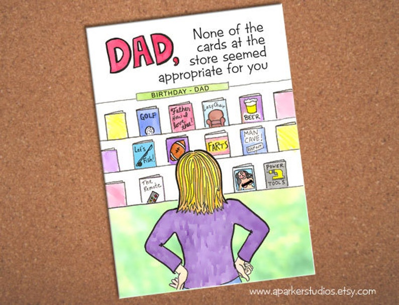 Dad Birthday Card Funny For Hand Drawn