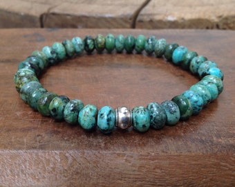 Men's Mala Bracelet, African Turquoise, Stretch Bracelet, Men's Bracelet, Bronze