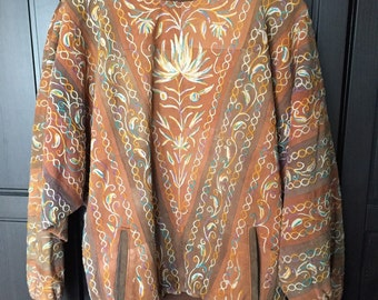 Vintage boho hippie embroidered leather suede batwing sweater