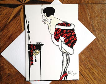 Smoke and Mirrors.  Cool Art Deco Fashion Illustration Greeting Card.