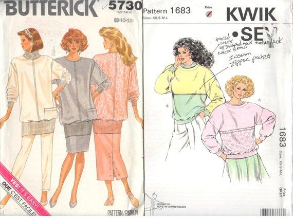 Lot Of 2 Ladies Sweatshirt Patterns Kwik Sew 1683 And Etsy