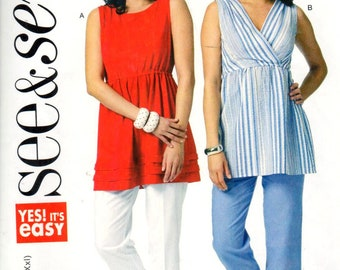 """Butterick 5736, Sz 4-28/XS-XXL/Bust 29.5-48"""". Easy Ladies Pullover Sleeveless Vneck/Bateau Neck Empire Waist Tunic Top, UC See & Sew pattern"""