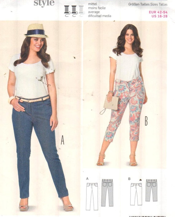 Burda 6951, Sz 16-28/EUR 42-54. Plus size Skinny Jeans/Capri Pants, UNCUT  sewing pattern with directions in English/French/Spanish.