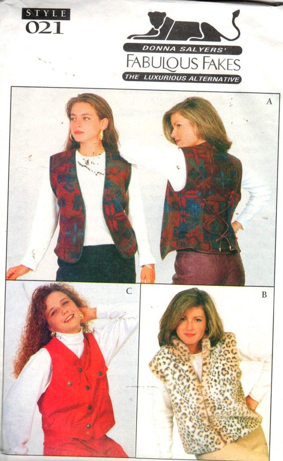 Sale Ladies Faux Fur Vestfabu Leather Vest Pattern Vintage Etsy