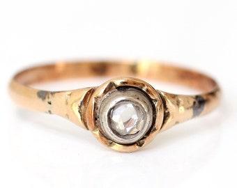 304697fdf Vintage Rose Cut Diamond Ring, Vintage Handmade Diamond Ring, 9K Yellow  Gold Ring, Diamond Solitaire Ring, Unusual Diamond Ring