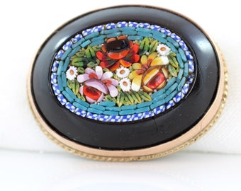 Antique Micro Mosaic Brooch, Micromosaic Brooch, Floral Micro Mosaic, 9ct Gold Mount, Micro Mosaic Pin, Victorian Micromosaic