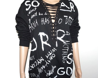 a0f1ca0d9c157 Gorgeous PLUS SIZE corset Lacing Neck line White typography Black Long  sleeve Sweater top