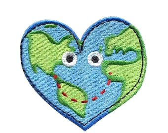 "2.5"" KAWAII heart planet earth Embroidered Iron on patch heal the world peace love"
