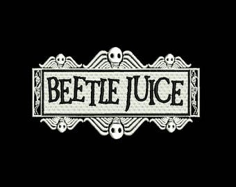"""4.5"""" CULT classic BEETLEJUICE logo Embroidered Iron on patch HALLOWEEN horror 80s movie classic"""