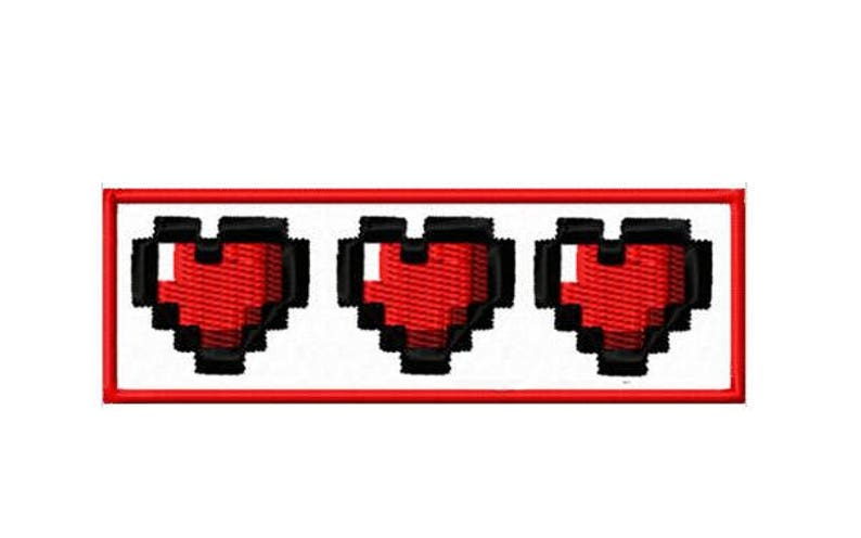 41 Pixel Hearts Life Bar Iron On Patch
