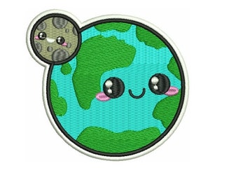 "4"" KAWAII planet earth and moon Embroidered Iron on patch heal the world peace love"