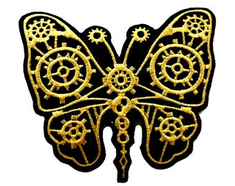 """4"""" Mechanical CLOCKWORK black gold Steampunk butterfly Iron On Embroidered Patches"""