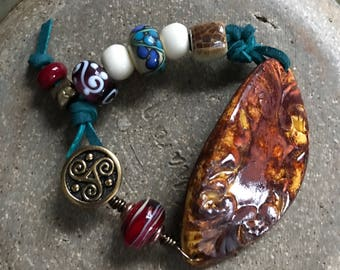 Clay Pottery Cuff Bracelet with Lampwork Beads FREE US SHIPPING