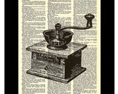 Vintage Coffee Grinder Etching - Dictionary Page Art