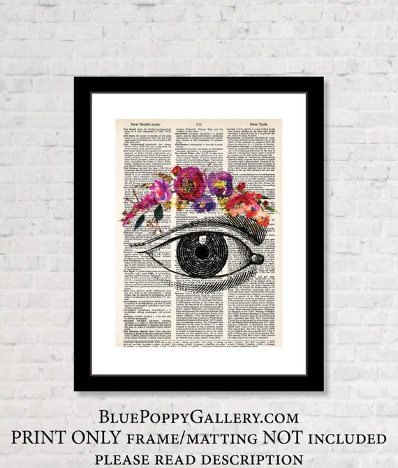 Vintage Eye Etching With Floral Watercolor Eyebrow Gift For Etsy