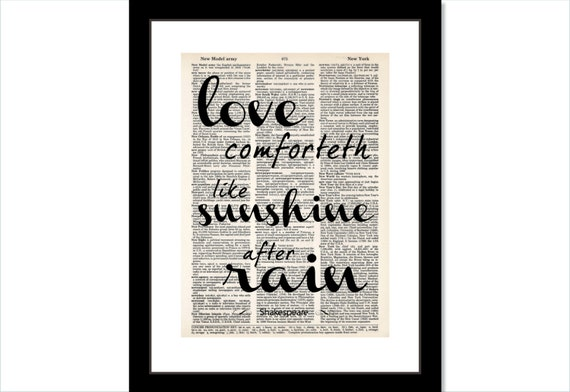 Love Comforteth Like Sunshine After Rain Quote By Etsy