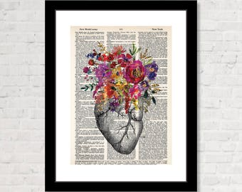 Anatomical Heart with Flowers - Dictionary Print - Heart and flowers - Floral Heart - Real Heart with Flowers - Dictionary Page Art