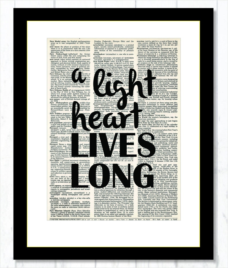 Shakespeare Quote - A Light Heart Lives Long - Dictionary Art Print