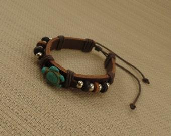 Turquoise Handmade Turtle Leather Bracelet - Brown Leather Bracelet
