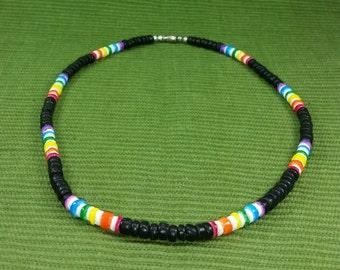 Rainbow Necklace - Gay Pride Necklace -  Rainbow Wooden Necklace - Black Necklace -Multicolored Necklace- Friendship Necklace - LGTB