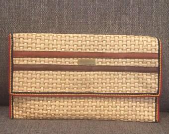 Vintage Straw Clutch with Leather Trim