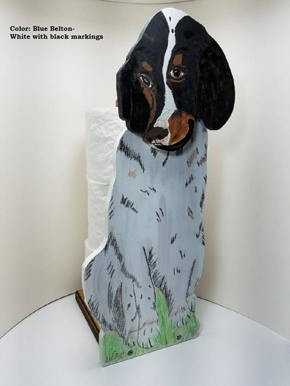 Dog Toilet Paper Holder, English Setter name JAKE, hand painted, Wooden free standing, sturdy and serviceable, Unique dog lover gift.