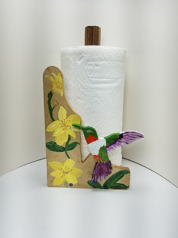 Ruby Throat Hummingbird And Flowers Paper Towel Holder Etsy