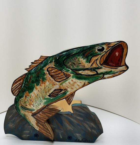 This Wooden Bass Fish Paper Towel Holder will Thrill Any ...