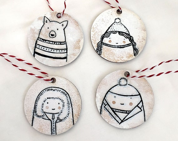 Wooden Hyggefolk Hanging Christmas Decorations