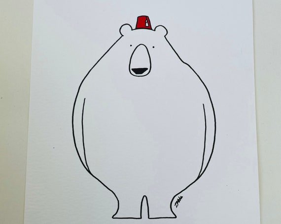 Fez Bear A5 Digital Print