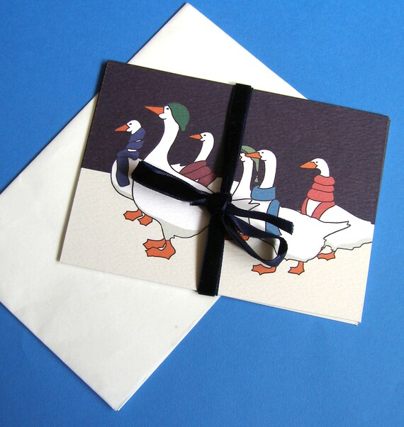 Christmas Geese Postcards Set of 5