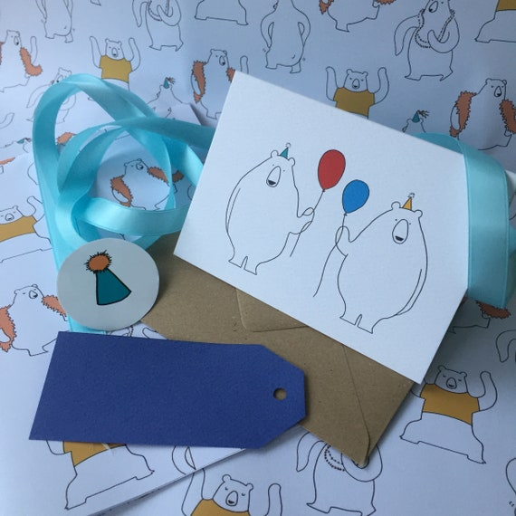 Birthday Bears Card and Wrapping Pack