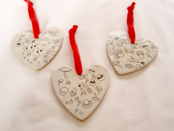 Ceramic Mushroom Heart Decorations