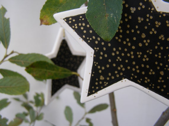 Black and Gold Ceramic Star Ornaments