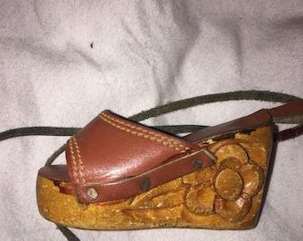 71f6e2c670c44 25% off customer app 1960-70 s vintage wood sandal shoe tooled leather rare  hippie boho necklace charm