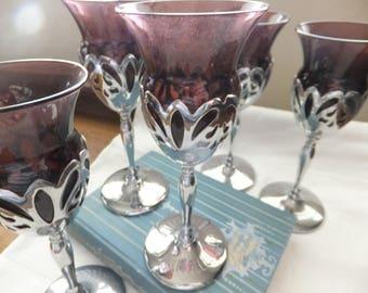 ELEGANT LAVENDER CORDIALS Set/Five Glass and Metal Vintage