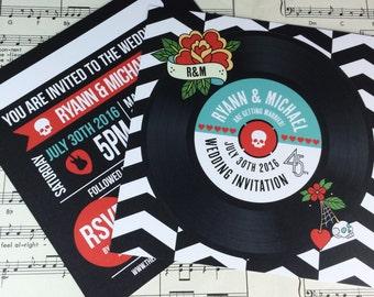 wedding party invitations rock n roll vinyl record design