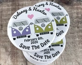 Wedding Save The Date Magnets Retro Camper Van Design Complete With Organza Bags