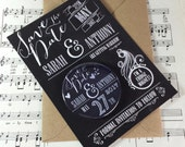 Wedding Save The Date Magnets Rustic Chalkboard Inspired Design (Complete With Backing Postcards)