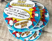 "Wedding Save The Date Magnets Comic Book Design ""Holy Matrimony"" (Complete With Organza Bags)"