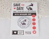 Wedding Save The Date Magnets Vintage Gramophone Design (Complete With Backing Postcards) Vinyl Record