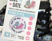Wedding Save The Date Magnets 'Converse' Design (Complete With Backing Postcards)