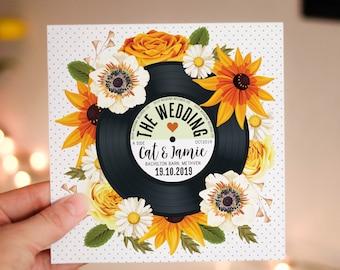 Wedding/ Party Invitations - Floral Vinyl Record Design (Sunflowers) Autumn Summer