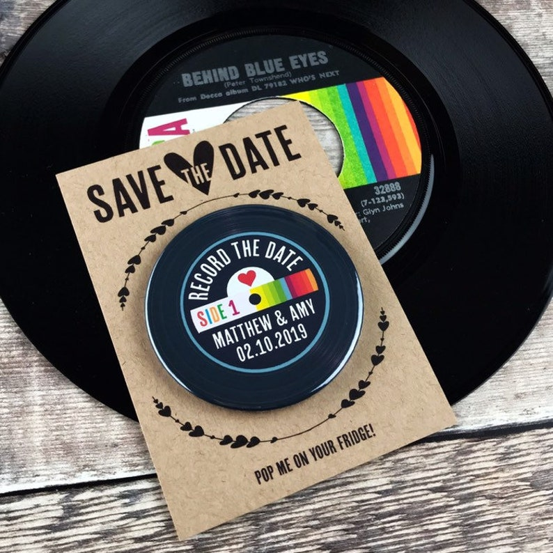 Rainbow Vinyl Record Design Complete With Mini Backing Cards Wedding Save The Date Magnets
