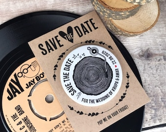 """Wedding Woodland """"Tree Stump Turntable"""" Save The Date Magnets Vintage Vinyl Record Design (Complete With Mini Backing Cards)"""