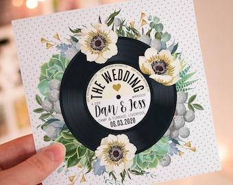 Wedding/ Party Invitations - Floral Vinyl Record Design Succulents Greenery Foliage Eucalyptus