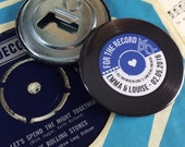 Wedding Favour Bottle Openers (Fridge Magnets) - Vintage Vinyl Record Design Complete With Organza Bags